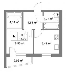 ЖК Гранд Виллас в Ворзеле вариант планировки однокомнатной квартиры
