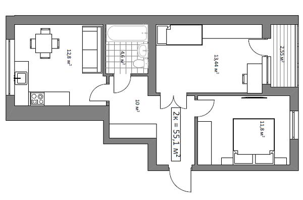 ЖК Гранд Виллас в Ворзеле вариант планировки двухкомнатной квартиры