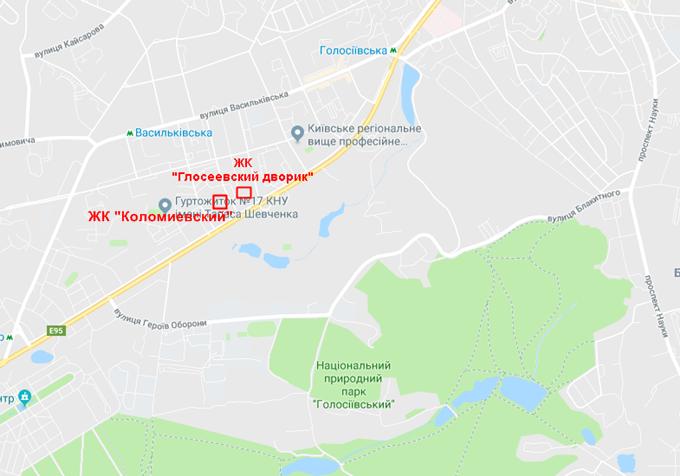 ЖК Коломиевский Киевгорстрой на карте