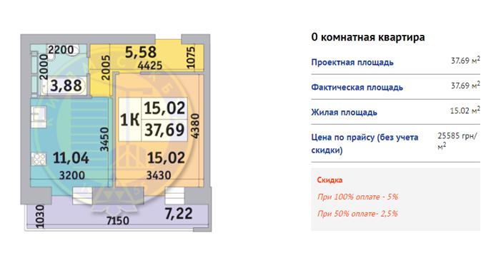 ЖК Коломиевский Киевгорстрой вариант планировки однокомнатной квартиры