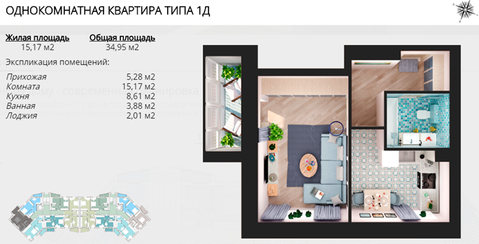 ЖК Мандарин вариант планировки однокомнатной квартиры