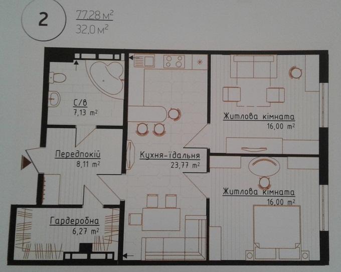 ЖК Новая Англия вариант планировки двухкомнатной квартиры