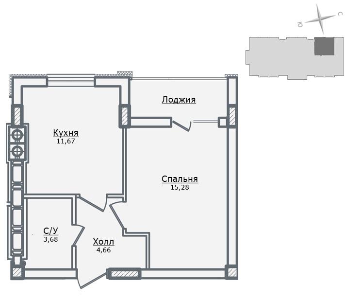ЖК Парковый в Ирпене вариант планировки однокомнатной квартиры