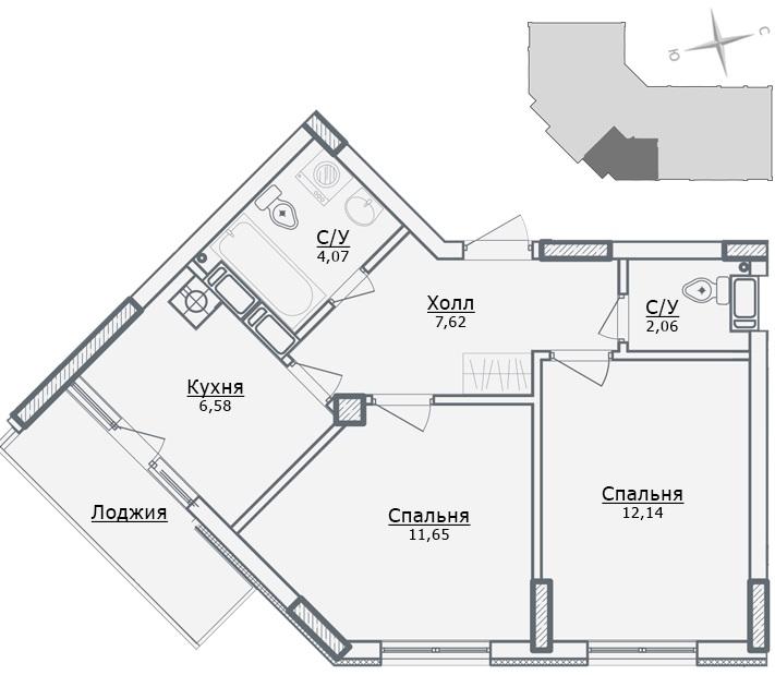 ЖК Парковый в Ирпене вариант планировки двухкомнатной квартиры