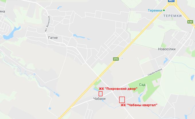 ЖК Покровский двор в Чабанах на карте