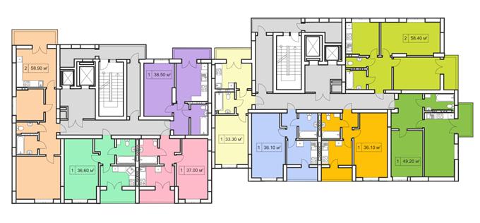 ЖК Покровский двор в Чабанах поэтажный план четырнадцати этажного дома