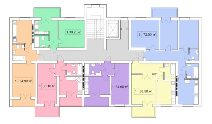 ЖК Покровский двор в Чабанах поэтажный план девяти этажного дома