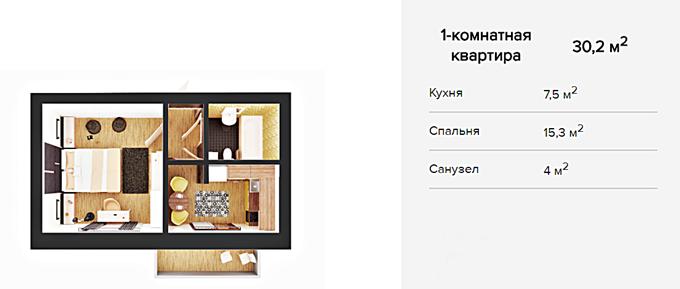 ЖК Покровский двор в Чабанах вариант планировки однокомнатной квартиры