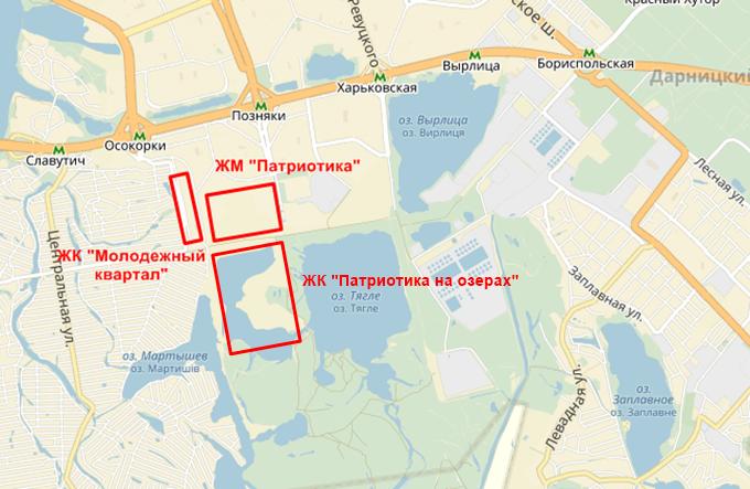 ЖК Патриотика на озерах на карте