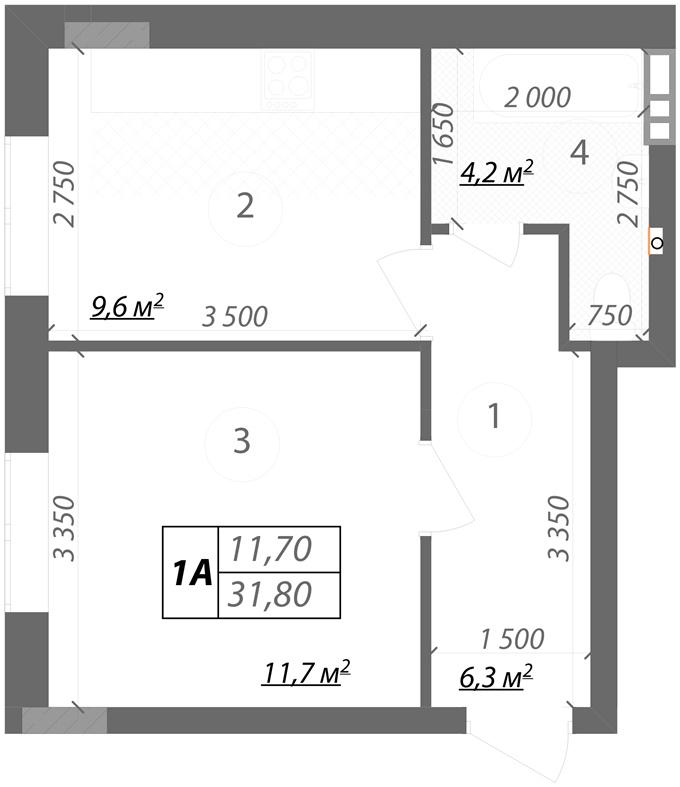 Клубный дом Подольский вариант планировки однокомнатной квартиры