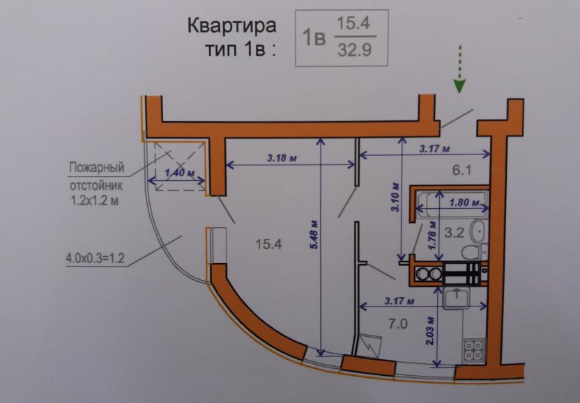 ЖК Атриум в Ирпене вариант планировки однокомнатной квартиры