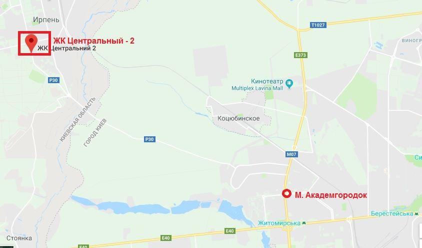 ЖК Центральный 2 в Ирпене на карте