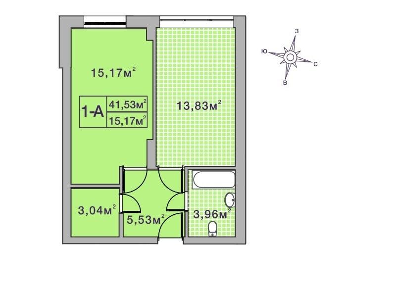 ЖК Центральный 2 в Ирпене вариант планировки однокомнатной квартиры