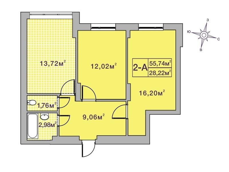 ЖК Центральный 2 в Ирпене вариант планировки двухкомнатной квартиры