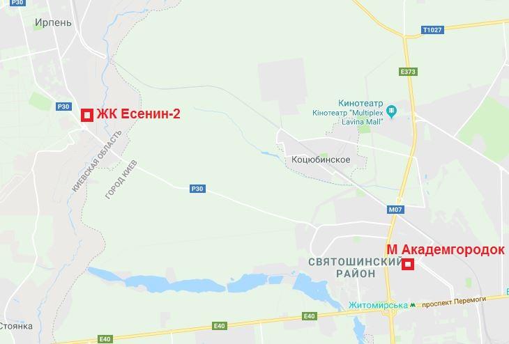 ЖК Есенин 2 в Ирпене на карте