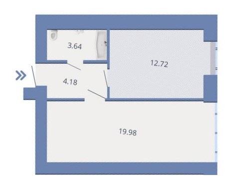 ЖК Есенин 2 в Ирпене вариант планировки однокомнатной квартиры