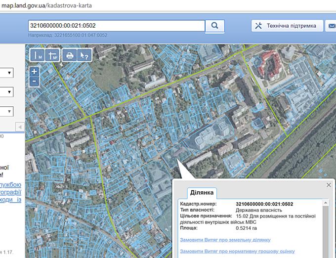 ЖК Гетьманский в Броварах кадастровая карта