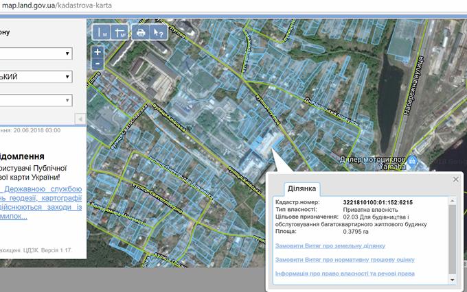 ЖК Киевские Зори в Вышгороде данные кадастровой карты