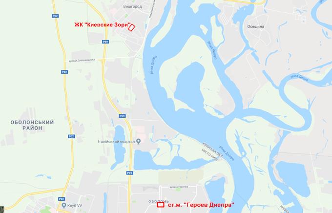 ЖК Киевские Зори в Вышгороде на карте