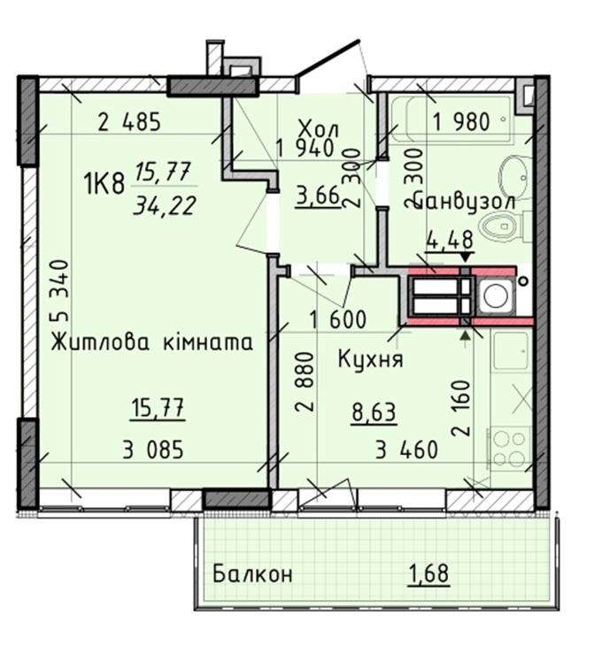 ЖК Киевские Зори в Вышгороде планировка однокомнатной квартиры