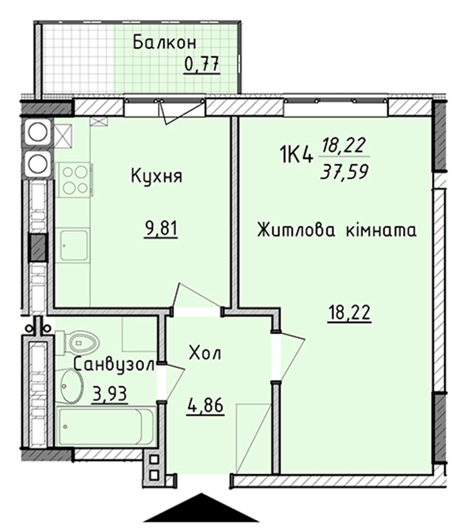 ЖК Киевские Зори в Вышгороде вариант планировки однокомнатной квартиры