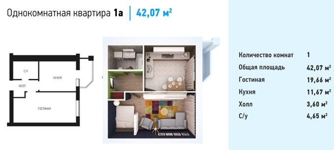 ЖК Волошковый в Софиевской Борщаговке вариант планировки однокомнатной квартиры