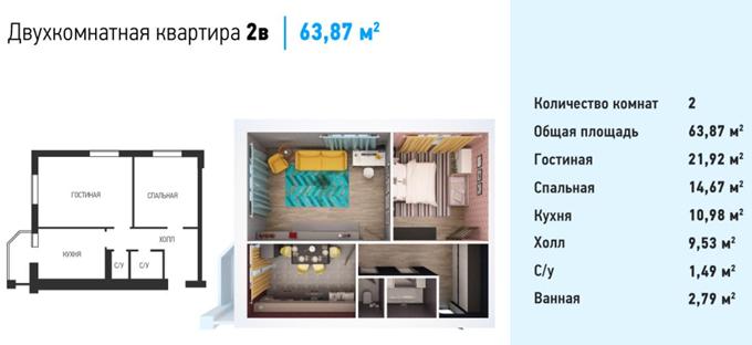 ЖК Волошковый в Софиевской Борщаговке вариант планировки двухкомнатной квартиры