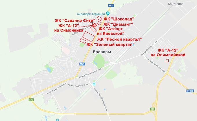 ЖК А 12 в Броварах на Симоненка на карте