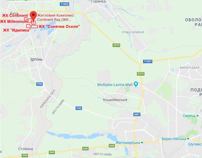 ЖК Континент Рэй в Буче на карте