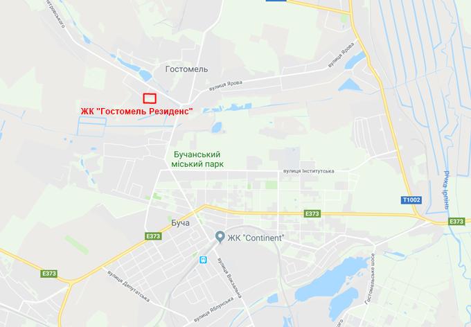 ЖК Гостомель Резиденс на карте