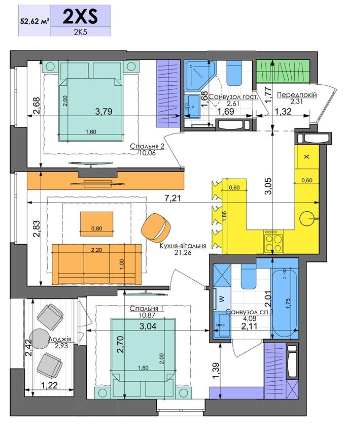 ЖК Комфорт Таун планировка двухкомнатной квартиры
