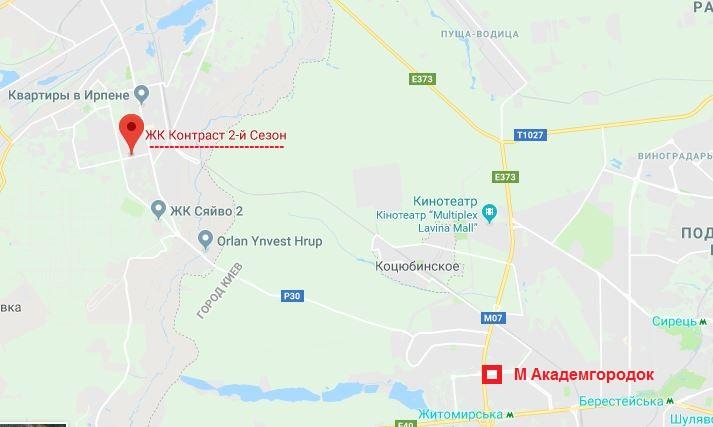 ЖК Контраст второй сезон в Ирпене на карте