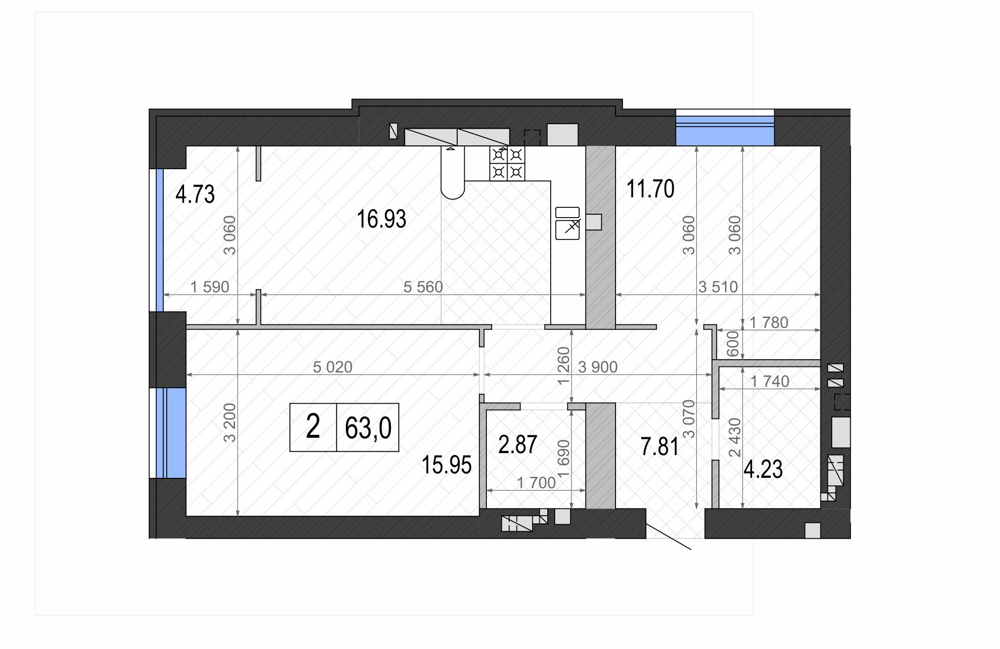 ЖК Контраст второй сезон в Ирпене планировка двухкомнатной квартиры