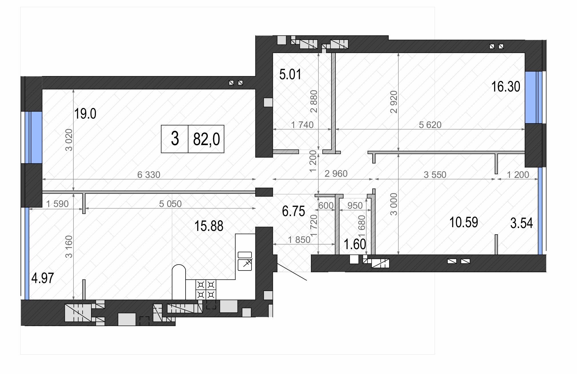 ЖК Контраст второй сезон в Ирпене планировка трехкомнатной квартиры