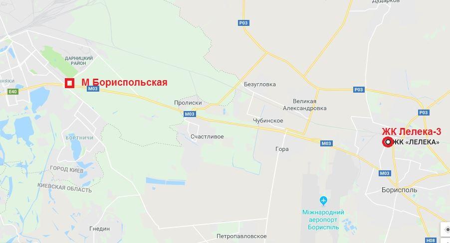 ЖК Лелека 3 в Борисполе на карте