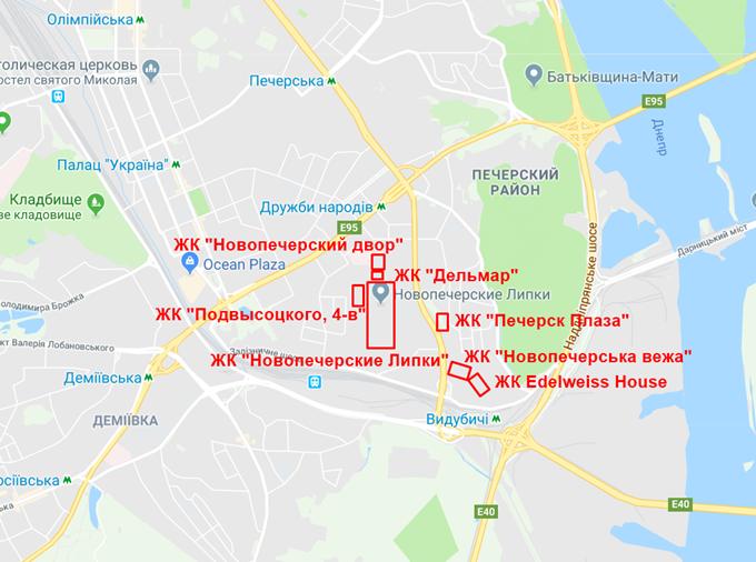 ЖК Новопечерские Липки на карте