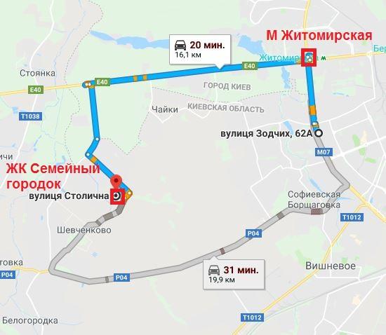 ЖК Сімейне містечко в Шевченково на карте
