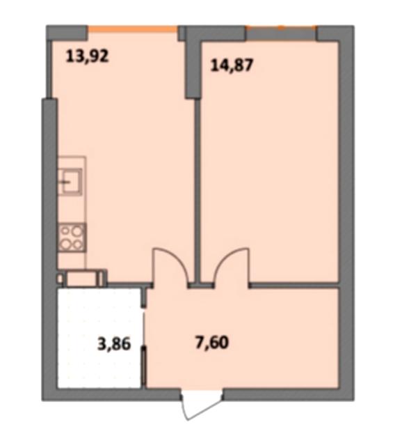 ЖК Синергия 2+ 1-комнатная планировка