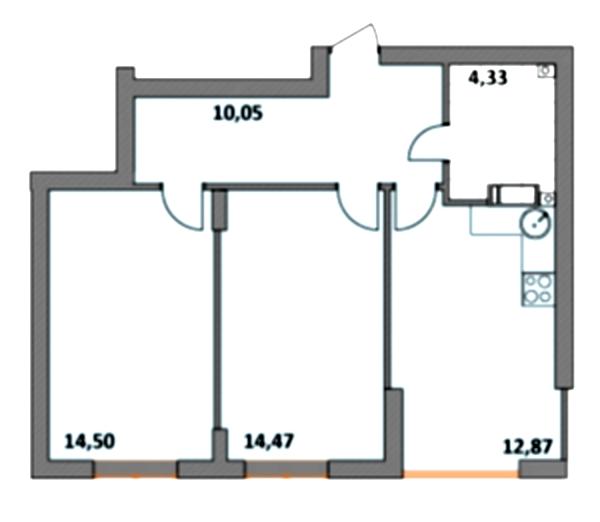 ЖК Синергия 2+ 2-комнатная планировка