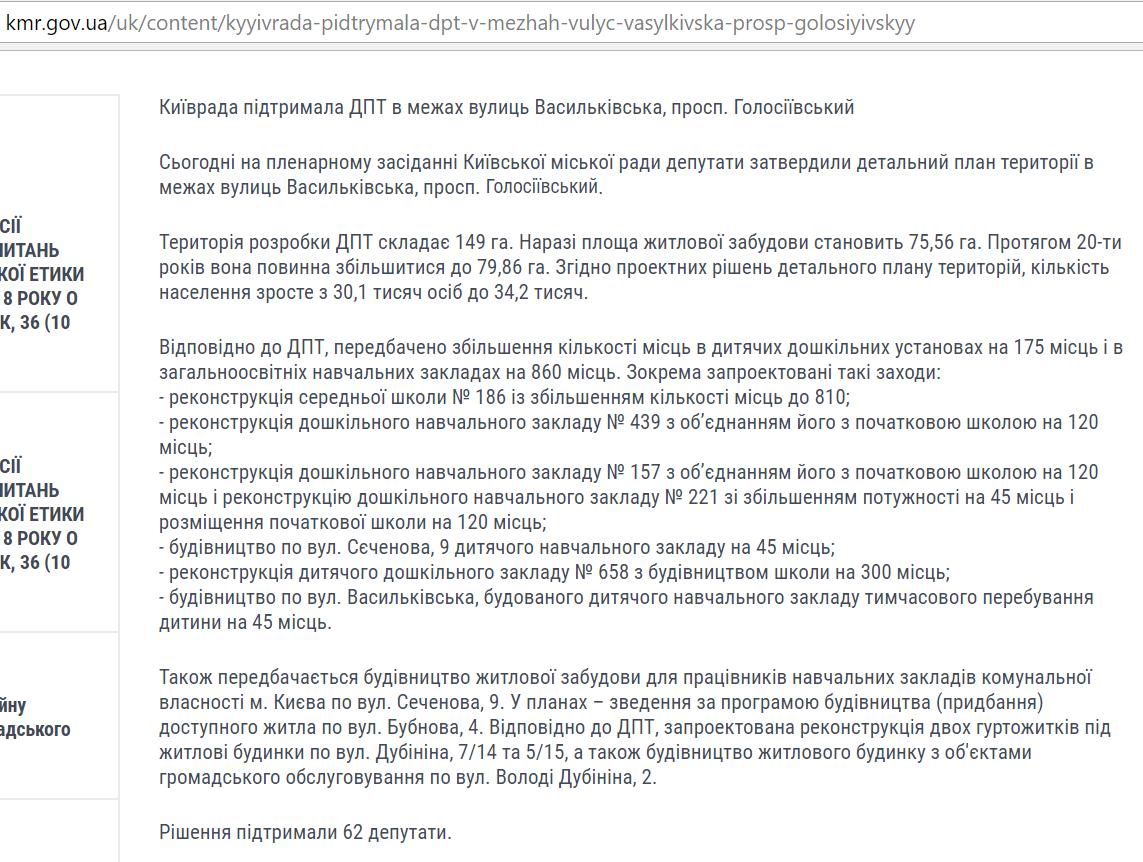 ДПТ микрорайон Голосеево официальные данные