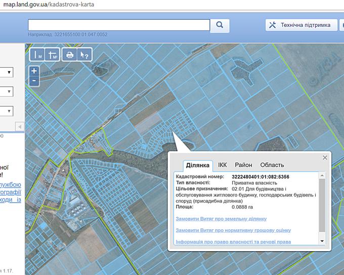 КГ Вилладжио в Белогородке кадастровая карта