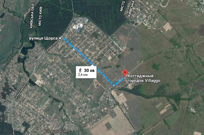 КГ Вилладжио в Белогородке пешая доступность