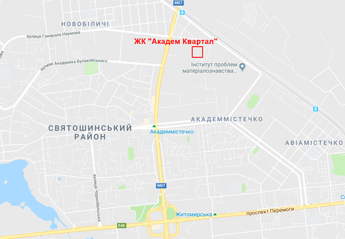 ЖК Академ квартал от Интергал Буда на карте
