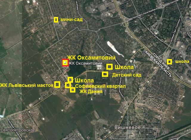 ЖК Оксамытовый в Софиевской Борщаговке инфраструктура