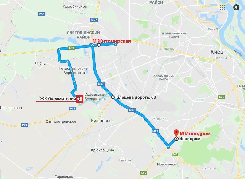 ЖК Оксамытовый в Софиевской Борщаговке на карте