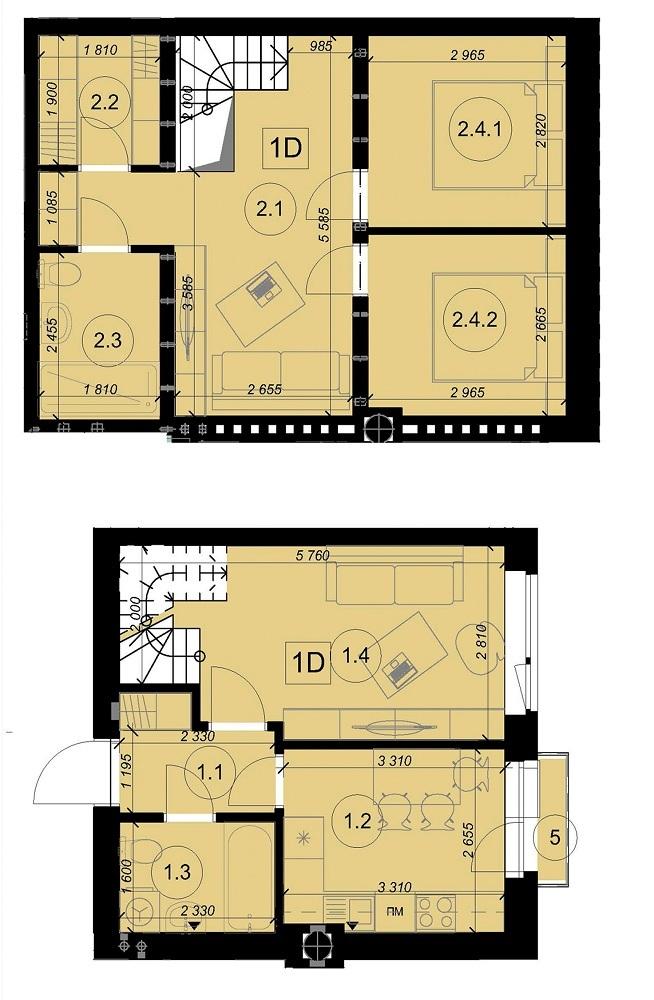 ЖК Оксамытовый в Софиевской Борщаговке планировка двухуровневой квартиры