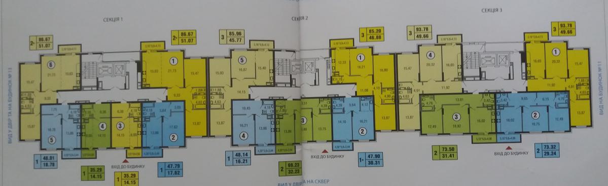 ЖК Парковые озера поэтажный план дома 12