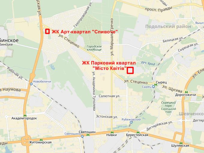 ЖК Парковый квартал Мисто Квитив на карте