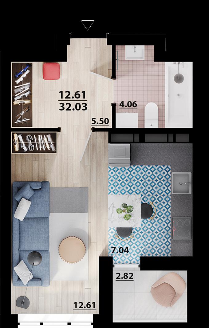 ЖК Парковый квартал Мисто Квитив планировка квартиры студио