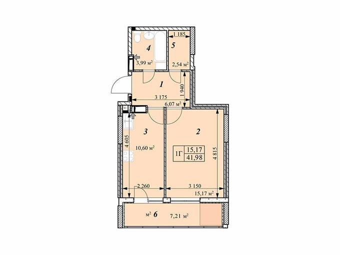 ЖК Звездная башня в Вышгороде планировка однокомнатной квартиры